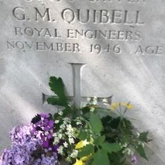 A gravestone inscribed G.M. Quibell, Royal Engineers, November 1946
