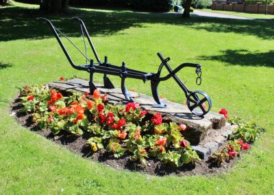 An old-fashioned iron plough with red begonias around it