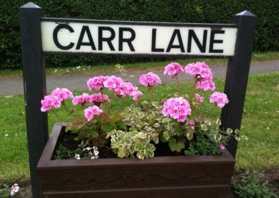 Pink geraniums in a planter below the Carr Lane street sign