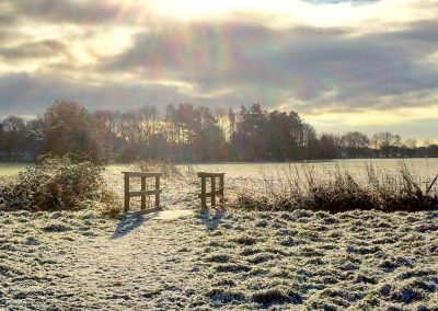 A view of a field and small wooden footbridge on a frosty morning